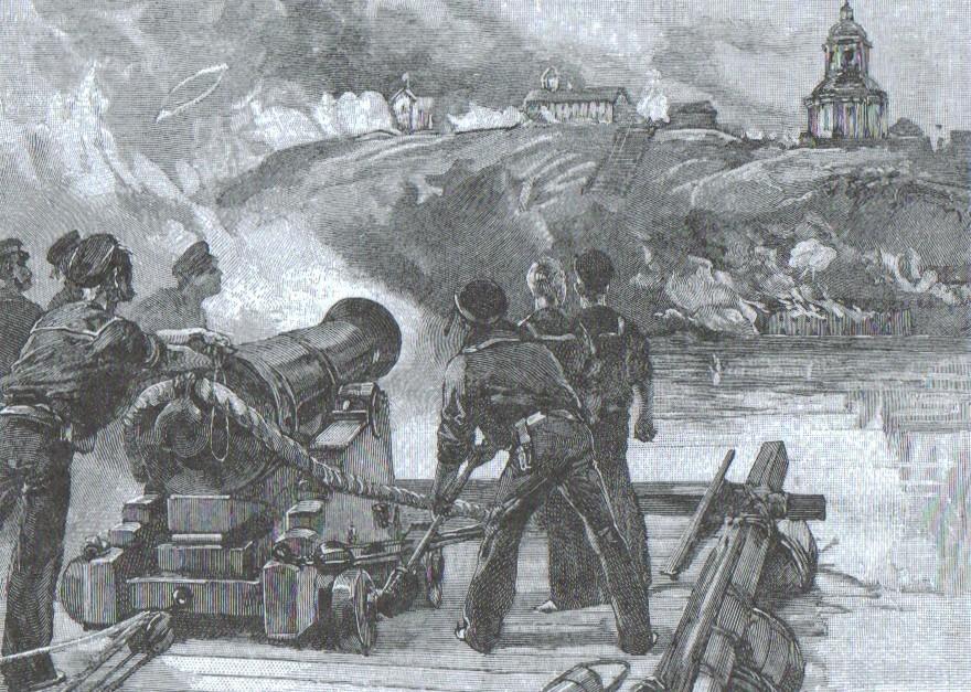 Оборона Таганрога, Крымская война, Плот «Леди Ненси» ведет огонь по Таганрогу.