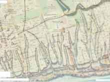 Наложение плана Ригельмана 1768г на современные улицы ростова на Дону (район бывшей крепости и Полуденского форштадта)