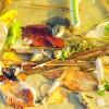 Лягушка в Дону среди осенних листьев